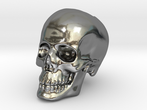 Skull Bead in Polished Silver