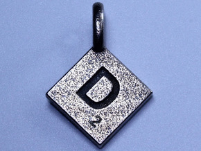 SCRABBLE TILE PENDANT D in Polished Bronzed Silver Steel