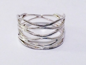 Grid Ring Size 10 in Polished Silver