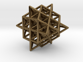 Isometric Vector Matrix - 64 Tetrahedron Grid  in Polished Bronze