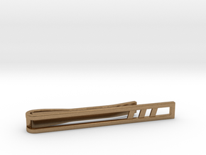 Minimalist Tie Bar - Triple Slash in Natural Brass