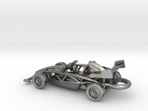 Ariel Atom brass pendant, HO scale RHD w/wings in Natural Silver