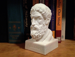 Epicurus Bust 4 inches in White Strong & Flexible
