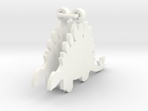 Stegosaurus earrings in White Processed Versatile Plastic