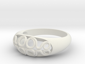 Ring of Waves (Size 7) in White Natural Versatile Plastic