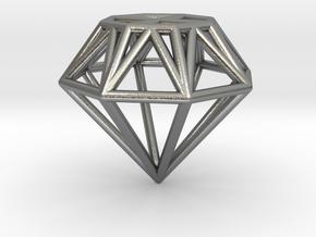 Diamond Pendant in Natural Silver