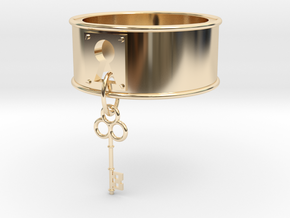 Lock And Key Ring Band size 7 in 14K Yellow Gold