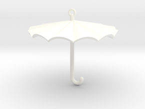 Umbrella Charm in White Processed Versatile Plastic