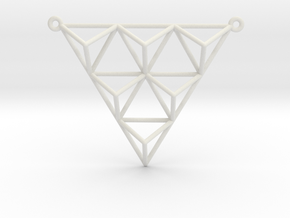 Tetrahedron Pendant 2 in White Natural Versatile Plastic