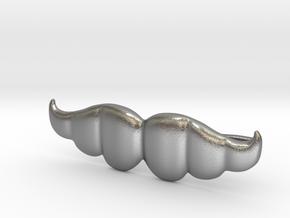 """Brazilian"" Moustache Tie Bar (Metals) in Natural Silver"
