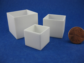 Cube Planter 3-piece Collection 1:12 scale in White Processed Versatile Plastic