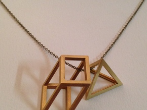 Cube Pendant in Natural Brass