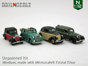German 1930s cars (SET B) N 1:160 in Smooth Fine Detail Plastic