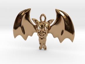 Little Toothy Fun Bat Pendant in Polished Brass
