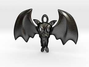 Little Toothy Fun Bat Pendant in Matte Black Steel