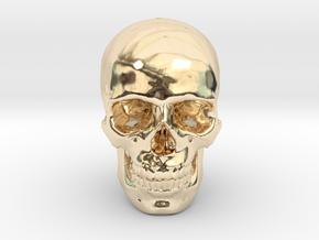 25mm 1in Human Skull Crane Schädel че́реп in 14K Yellow Gold