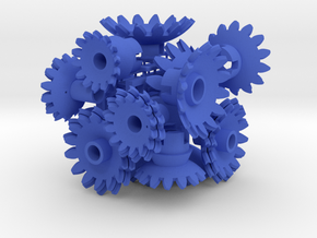 Blue Gears & Tiles for the Multi-Gear Cube Kit in Blue Strong & Flexible Polished