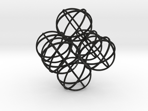 Packed Spheres Octahedron in Black Acrylic