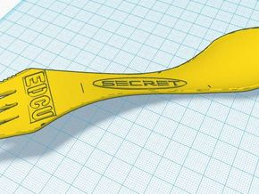 EDCU SporkKnife v1 in Yellow Strong & Flexible Polished