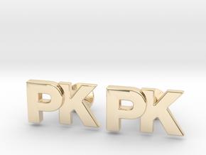 Monogram Cufflinks PK in 14K Yellow Gold