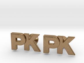 Monogram Cufflinks PK in Natural Brass