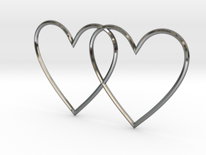 Hearts together in Fine Detail Polished Silver