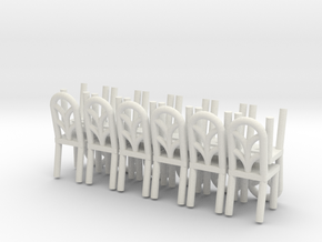 Cafe  Chair style 2 HO Scale X12 in White Natural Versatile Plastic