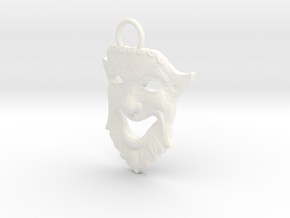 Laughing Greek Mask Pendant 1.5inches in White Processed Versatile Plastic