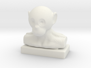Monkey Bust in White Natural Versatile Plastic