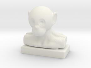Monkey Bust in White Natural Versatile Plastic