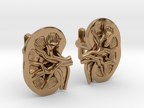 Anatomical Kidney Cufflinks in Polished Brass