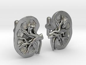 Anatomical Kidney Cufflinks in Natural Silver
