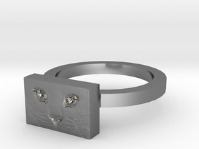 Cat Face Ring in Fine Detail Polished Silver