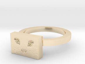 Cat Face Ring in 14K Yellow Gold