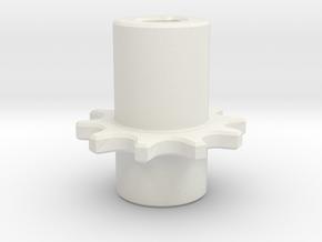 Chain Pinion P=8 Z=10 Ør=5 ISO-R 606 - DIN 8187 in White Natural Versatile Plastic