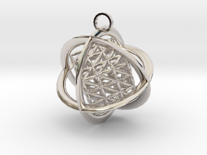 Flower of Life MetaCube with Rings pendant in Platinum