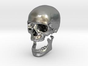 42mm 1.65in Human Skull Crane Schädel че́реп in Natural Silver