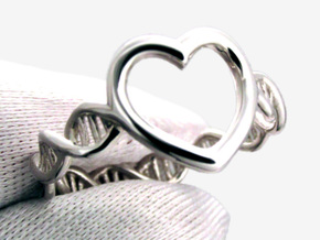 Heart DNA Ring in Polished Silver