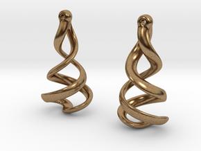 Helixial Elliptical Ear Rings in Natural Brass