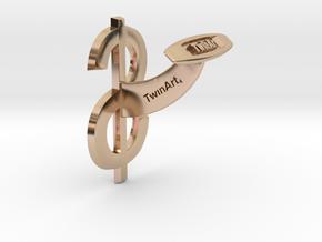 Dollar Cufflink in 14k Rose Gold