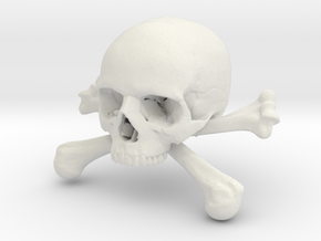 58mm 2.28in Skull & Bones Skull Crane Schädel in White Natural Versatile Plastic
