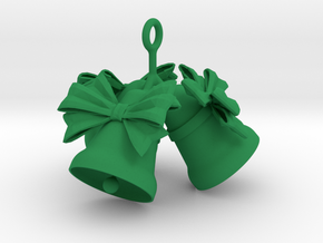 3 Christmas Bells  in Green Strong & Flexible Polished