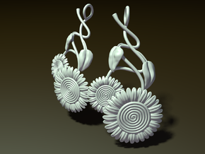 Dangling Sunflower Earrings in White Natural Versatile Plastic