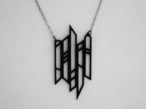 Abstract Fence Pendant in Black Natural Versatile Plastic