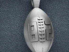 Football Pendant #82 in Polished Bronzed Silver Steel