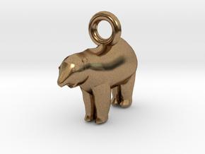 Polar Bear Pendant in Natural Brass