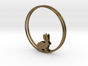 Bunny Hoop Earrings 40mm in Natural Bronze