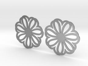Seven Heart Hoop Earrings 40mm in Natural Silver