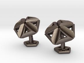 SkylightCufflinks in Polished Bronzed Silver Steel