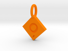 SCRABBLE TILE PENDANT  O  in Orange Strong & Flexible Polished